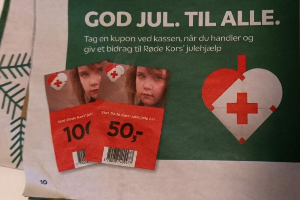 Реклама гуманитарной организации Красный Крест (Røde kors)