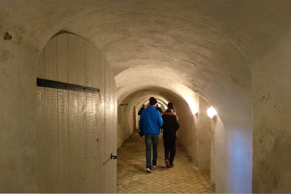 Длинный коридор со сводчатыми потолками в подвале замка Ульструп, Дания