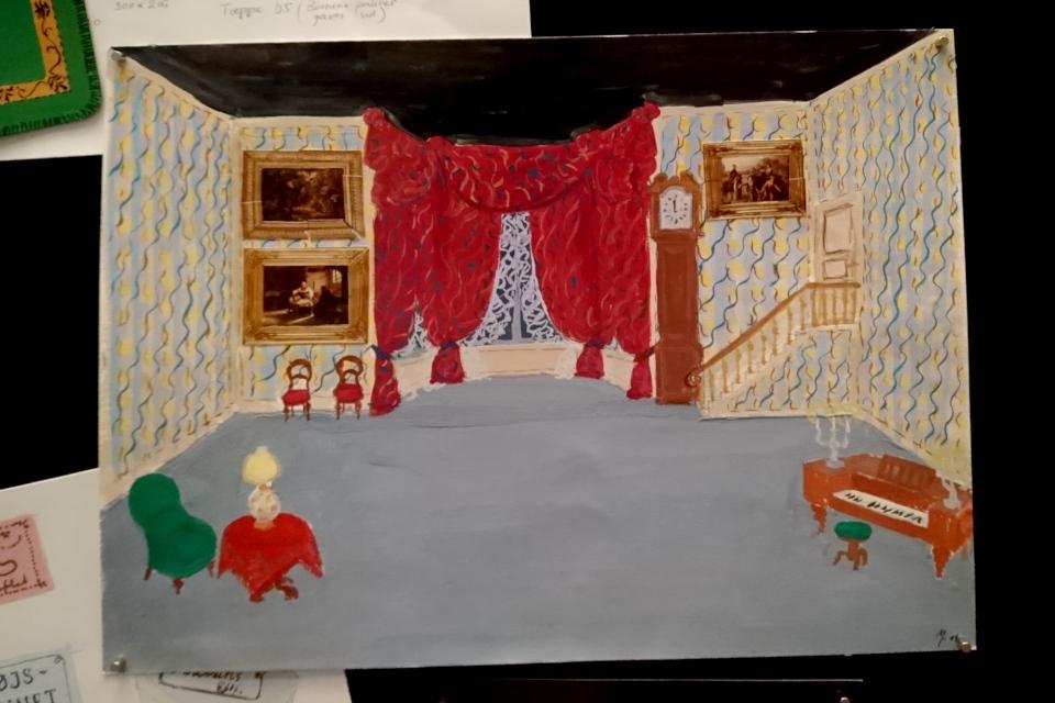 """Рисунок декорации для балета П.И. Чайковского """"Щелкунчик""""- королева Маргрете II"""