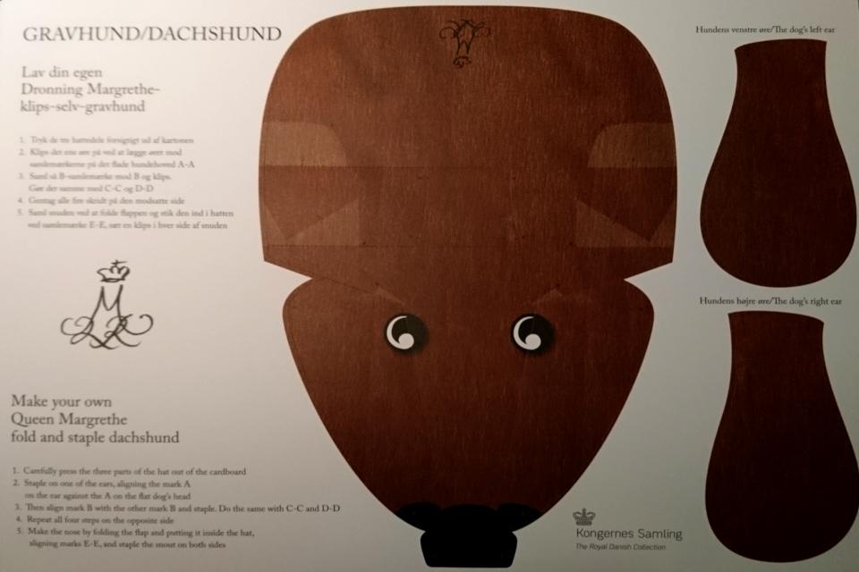 """Готовый шаблон шляпы """"Собака такса"""". Дизайн королевы Дании Маргрете II"""