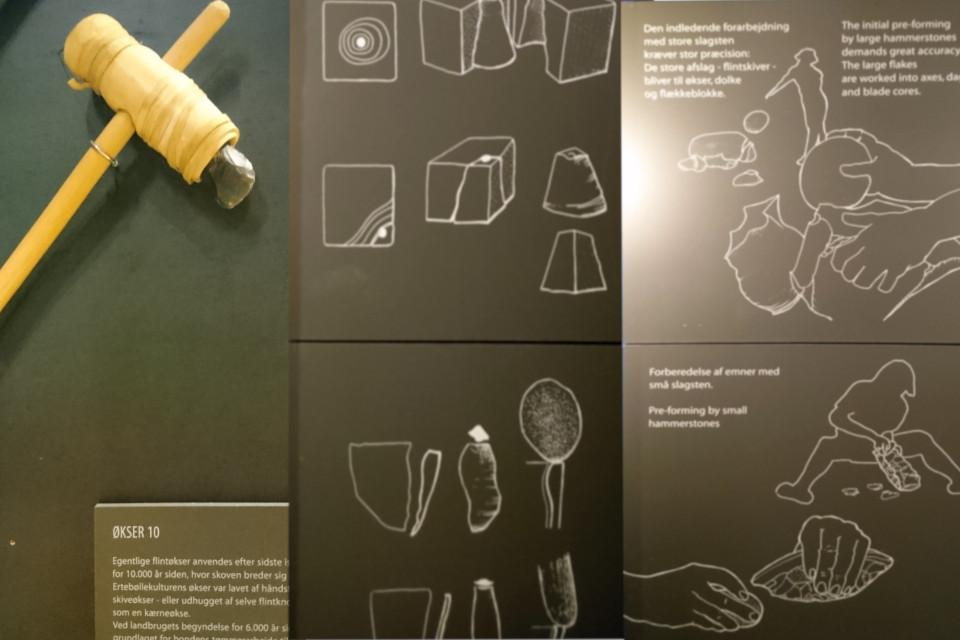 Топор из камня и схема изготовления орудий труда из камня в музее каменного века