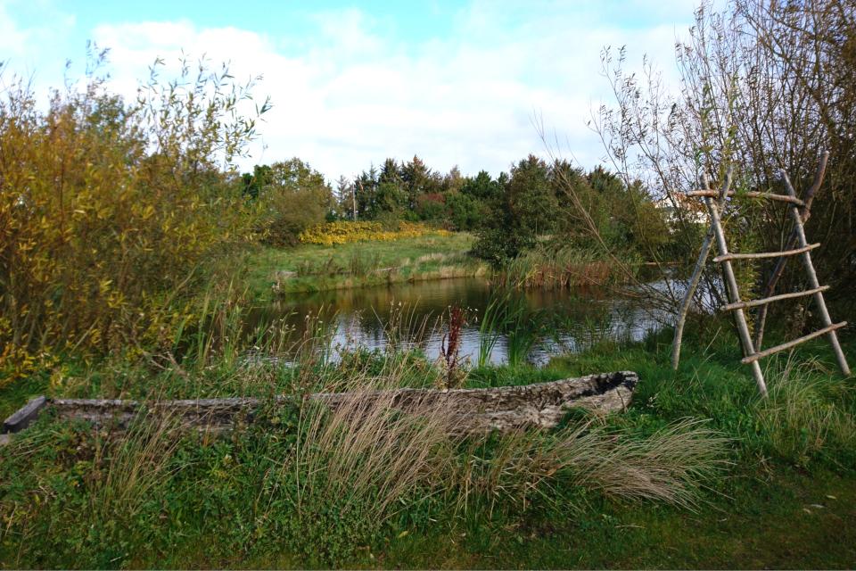 Лодка каменного века возле озера в парке музея Эртебёлле