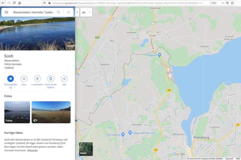 Приграничный город Сости (Sosti) Вассерслебен (Wasserleben) на карте google.