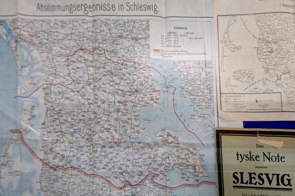 Карта с результатами голосования в первой зоне Шлезвиг