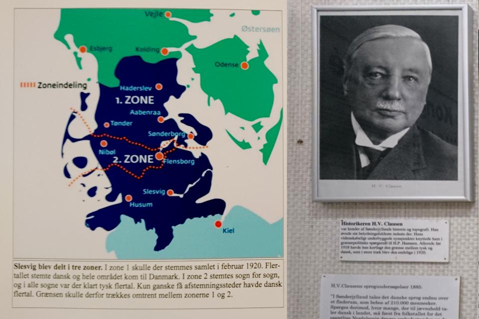 Карта с двумя зонами, в которых проходило голосование в 1920 году (слева).