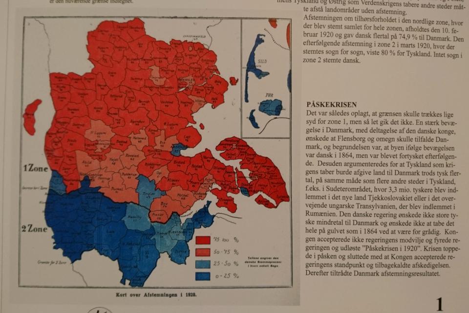 Карта с результатами голосования в двух зонах Шлезвиг