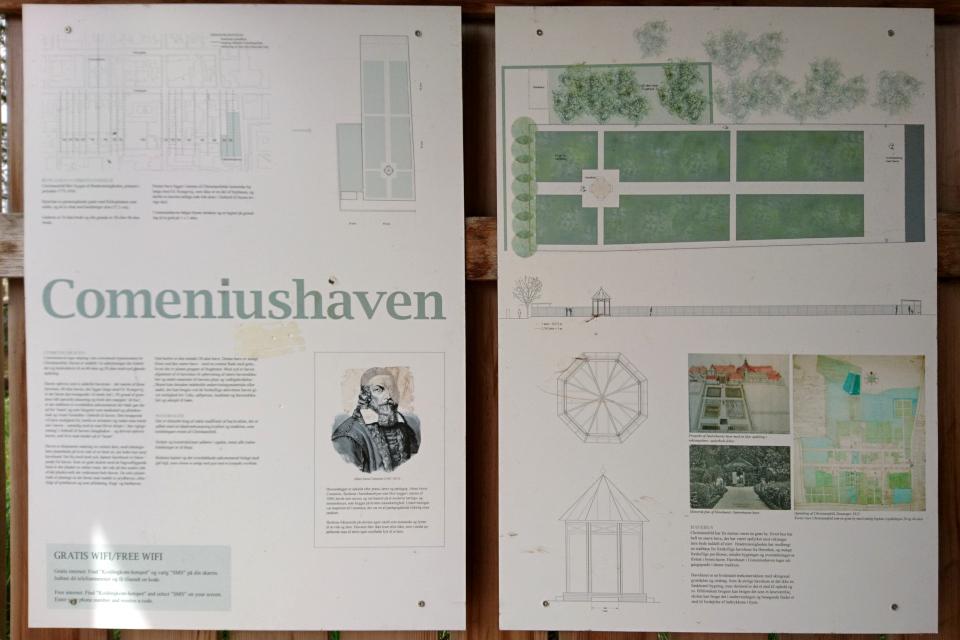 Иллюстрация плана сада и копия портрета Коменского