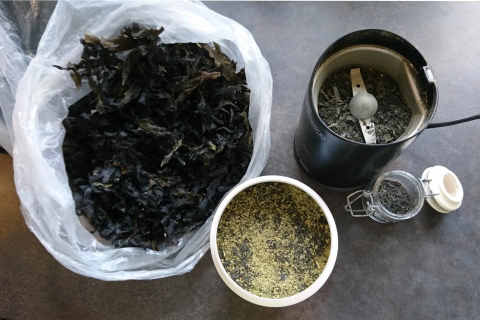 Измельчение сухих водорослей в кофемолке и соль с морскими водорослями.