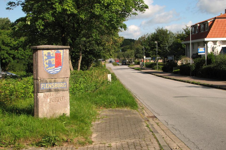 Каменный столб с гербом г. Фленсбург / Flensburg, Германия