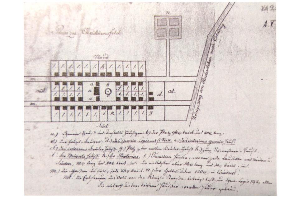 Самый первый сохранившийся рисунок с планом г. Кристиансфельд