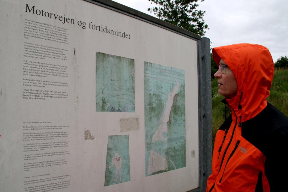Информационный щит про археологическую находку на парковке возле автотрассы