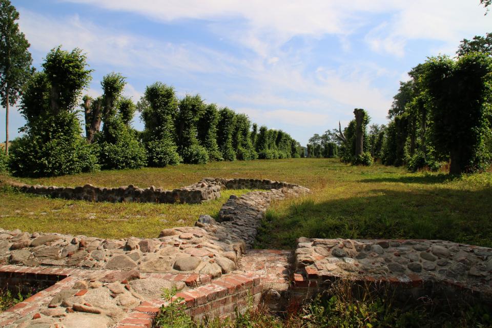 Руины замка Фуссингё с видом на липовую аллею