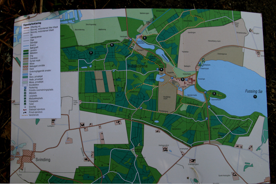 Туристическая карта с озером Фуссинг (Fussing sø)
