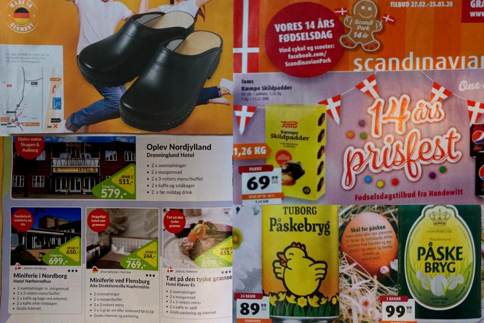 Рекламы немецких пограничных магазинов на датском языке