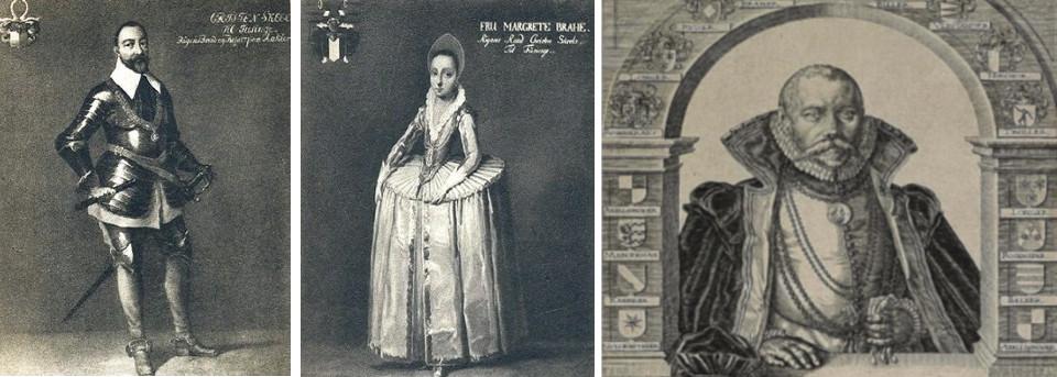 Портерты Кристен Скил (слева), Маргрет Браге, Тихо Браге (справа)