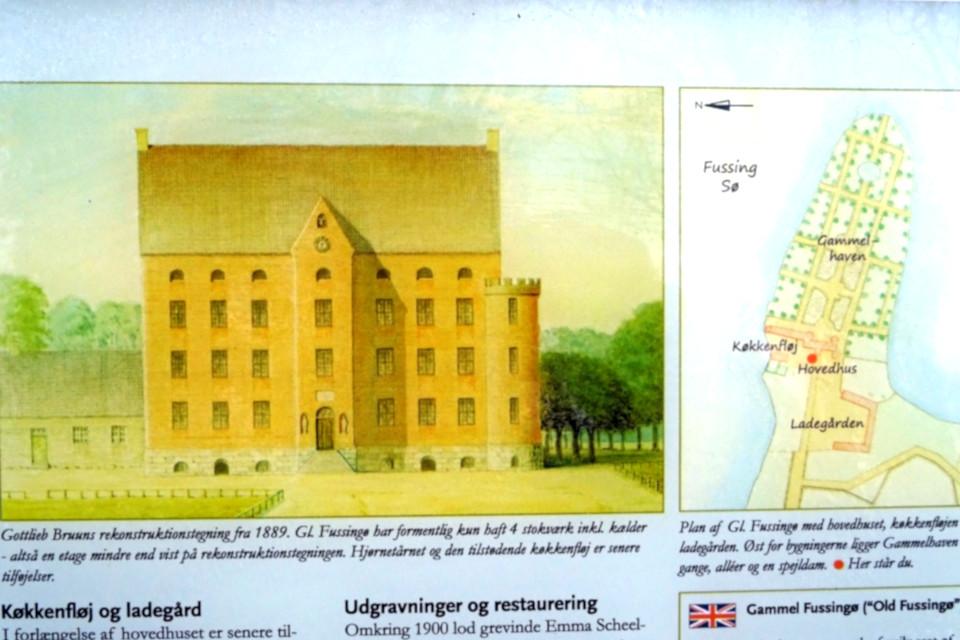 Иллюстрация старинного замка Фуссингё и карта парковой зоны вокруг замка, Дания