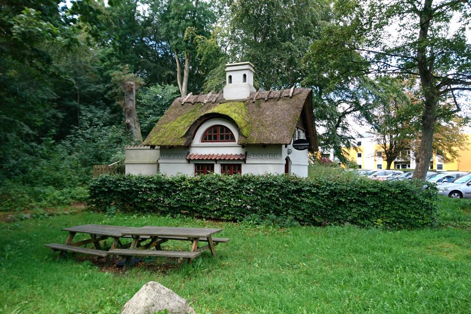 Деревянные столы со встроенными скамейками перед домиком Анемонехусет