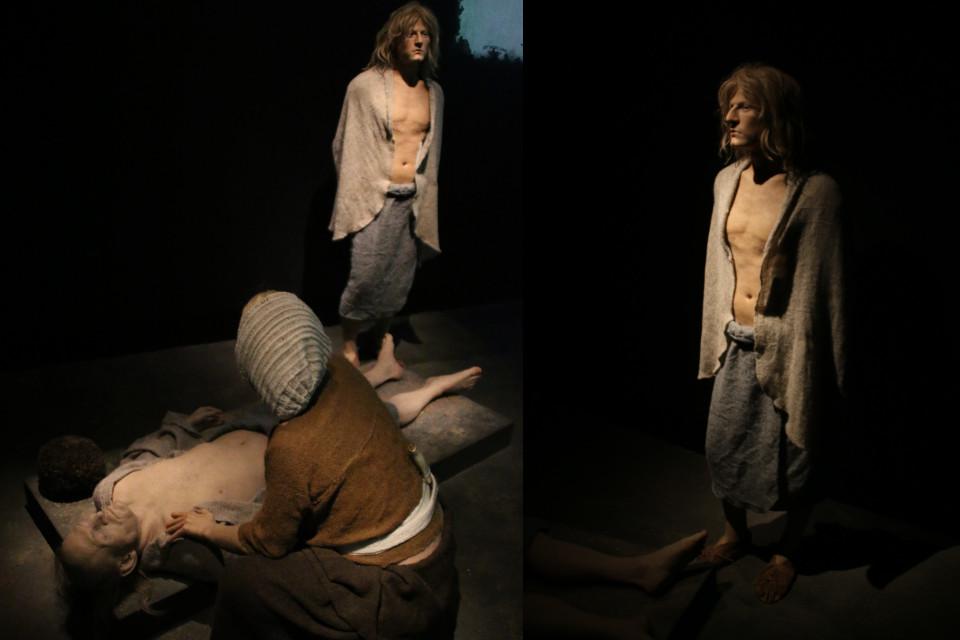 Молодой человек, женщина и пожилой человек из кургана Борум Эсхой