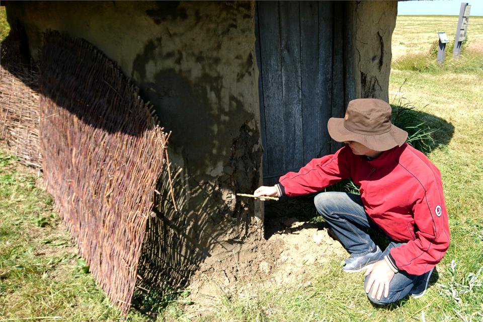 Ветки и солома внутри глинобитной стены копии дома бронзового века
