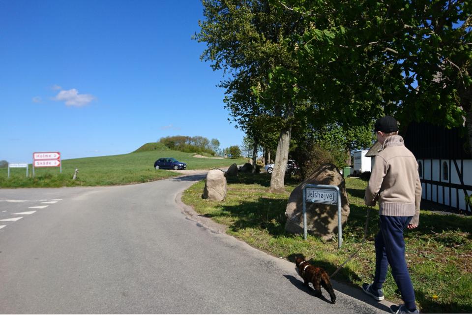 Дорога возле кургана Ельсхой / Jelshøj, г. Орхус (Хойбьяу) / Aarhus (Højbjerg), Дания