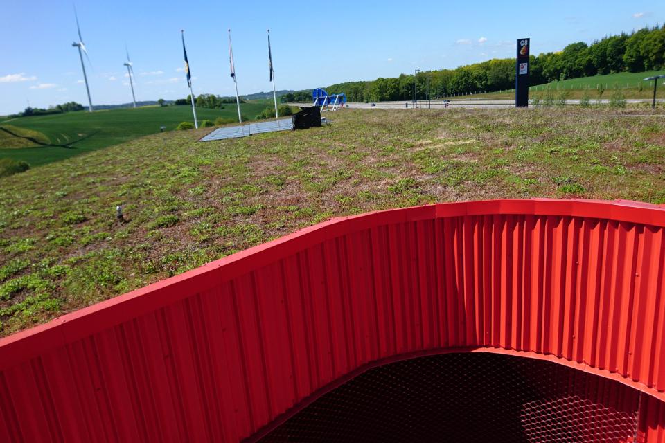Солнечные панели на зеленой крыше. Фото 29 мая 2020, Лосбю /Låsby, Дания