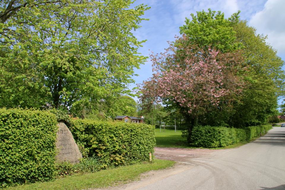 Дорога, возле которой расположен камень воссоединения в Каттруп, Дания. Фото 28 мая 2021