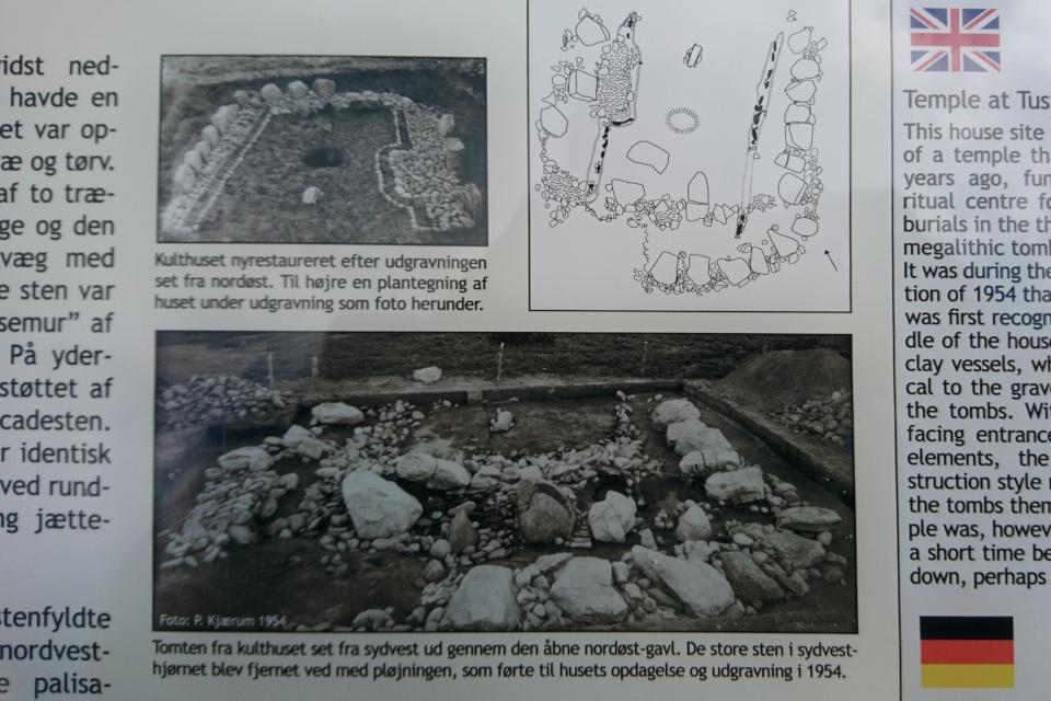 Фотография, сделанная во время раскопок в 1954 и после реставрации