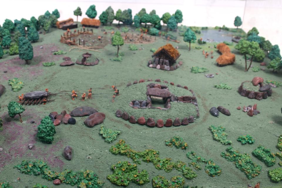 макет поселения времен неолита, Туструп, Дания