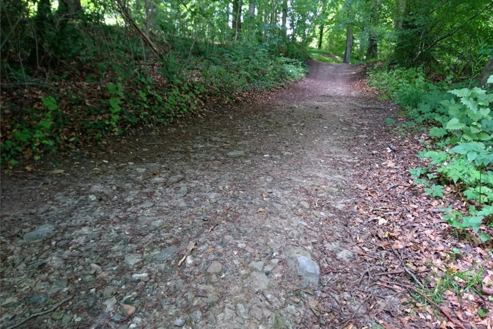 Каменистая дорожка, ведущая к кургану в королевском парке Марселисборг