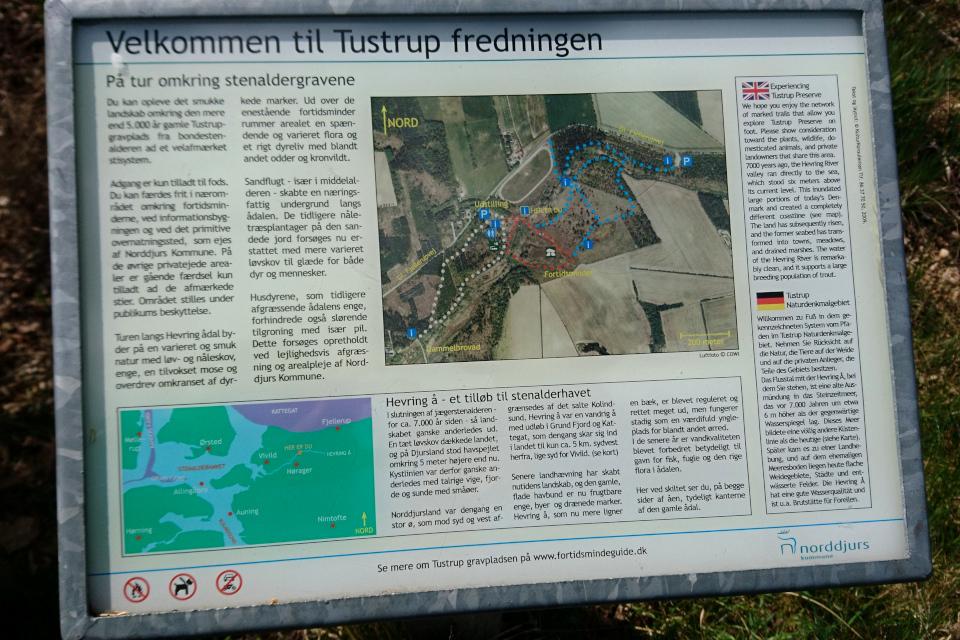 Информационный щит с прогулочными маршрутами, Мегалиты Туструп, Дания