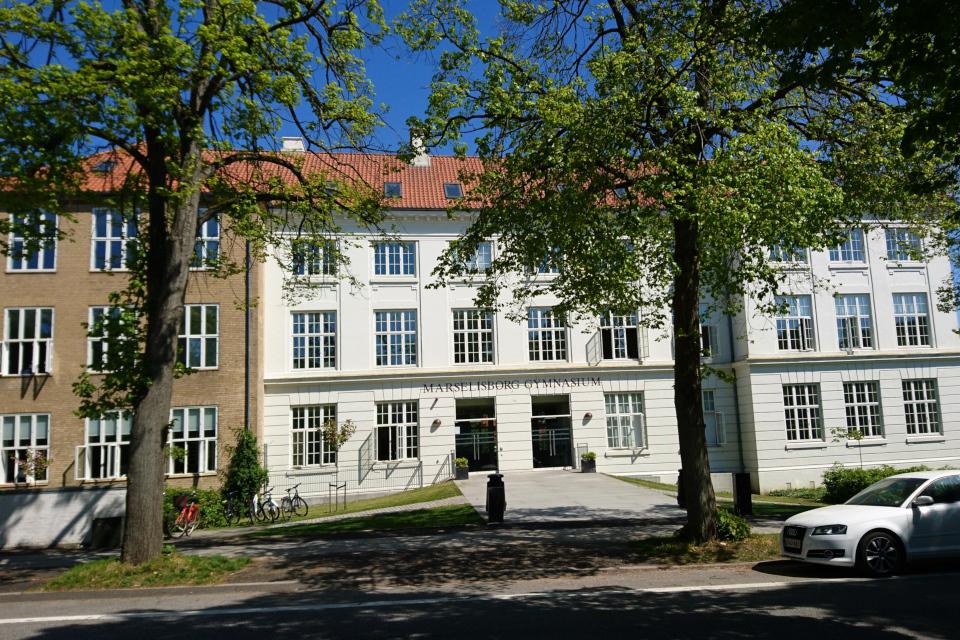 Гимназия Марселисборг и старая липовая аллея. Фото 15 мая 2018, г. Орхус, Дания