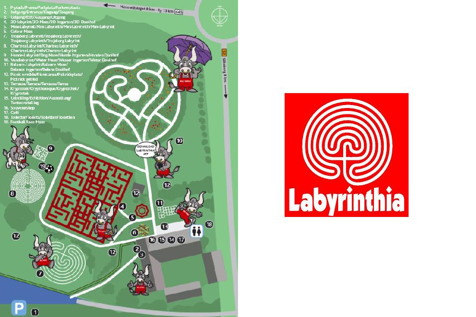 Схема парка Лабиринтия с талисманом Минотавром и логотип парка.