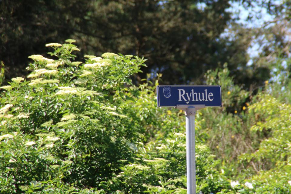 Возле дороги - информационная табличка города Рюхэве / Ryhave