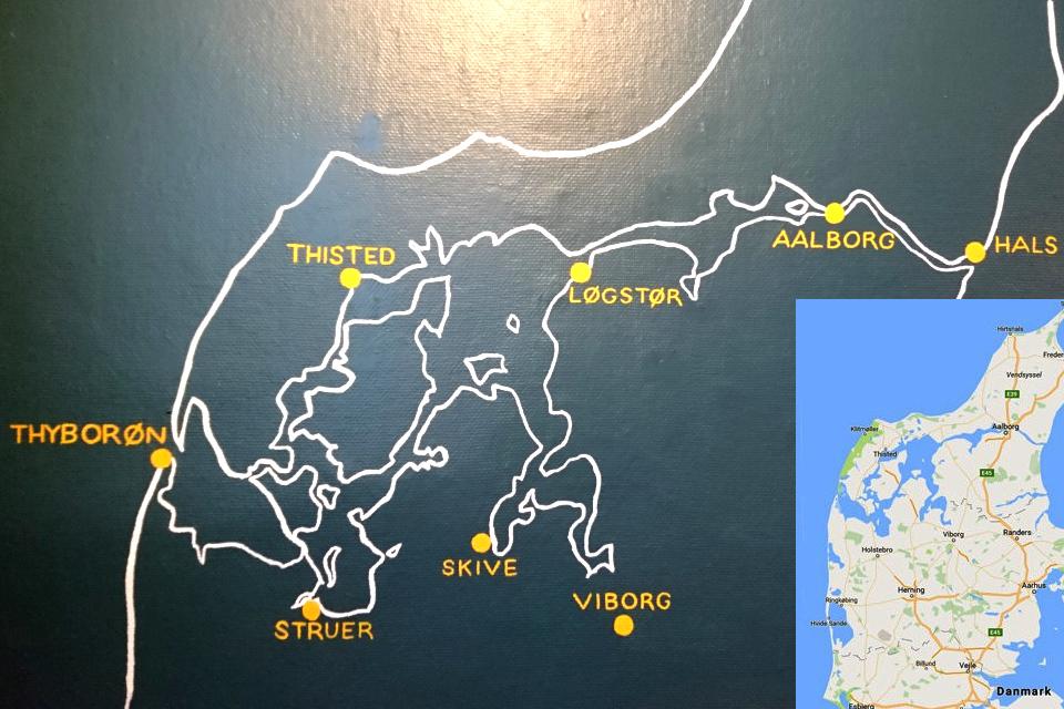 Схема пролива Лимфьорд с основными городами