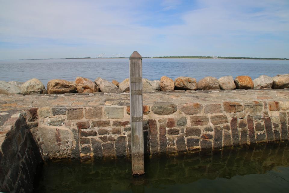Указатель уровня воды в заливе Лимфьорд
