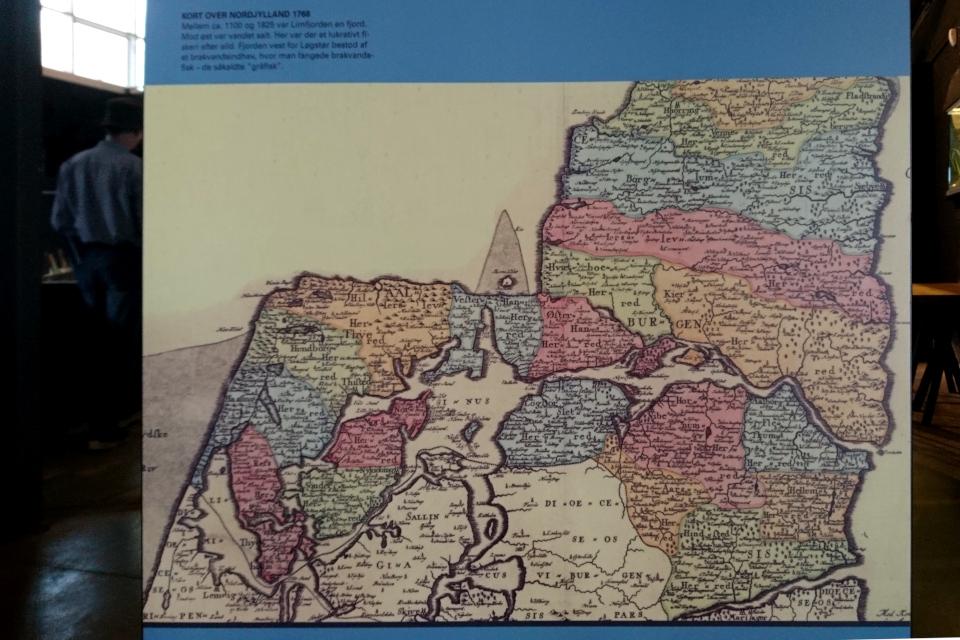 Карта Лимьфьорд от 1768 года, когда существовал фьорд и не было пролива