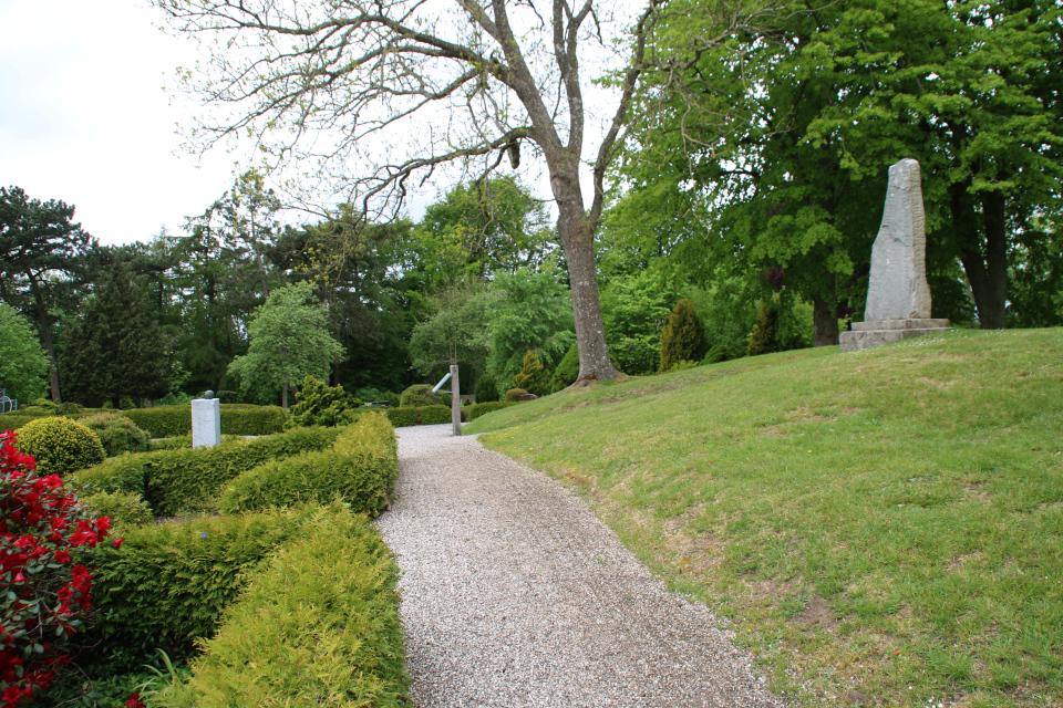 Рунный камень на кургане у церкви Римсё / Rimsø Kirke, Дания. Фото 24 мая 2020