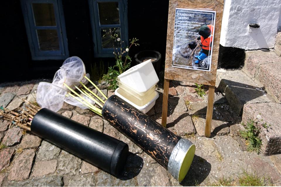 Сачки для сбора крабов у входа в музей Лимфьорд, Дания