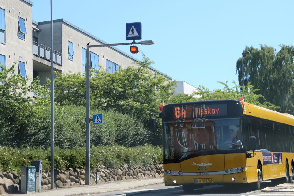 Флажки украшают городской автобус. Фото 15 июня 2020, г. Вибю / Viby, Дания