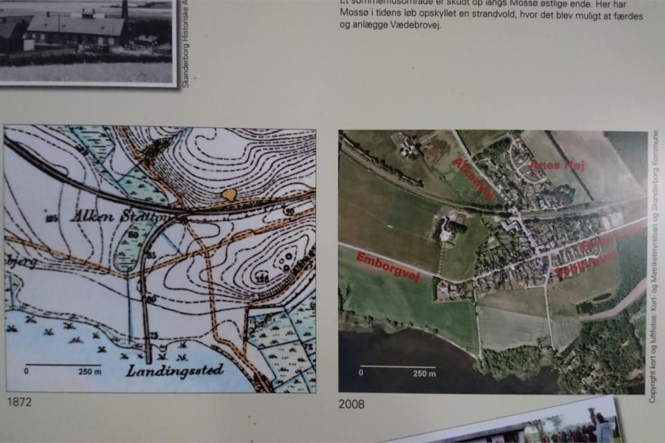 Карта города Алкен в 1872 году и в 2008 г.