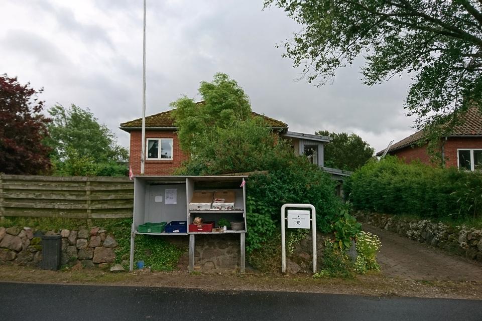 Лоток самообслуживания возле дороги. Фото 30 июн. 2020, г. Алкен / Alken, Дания