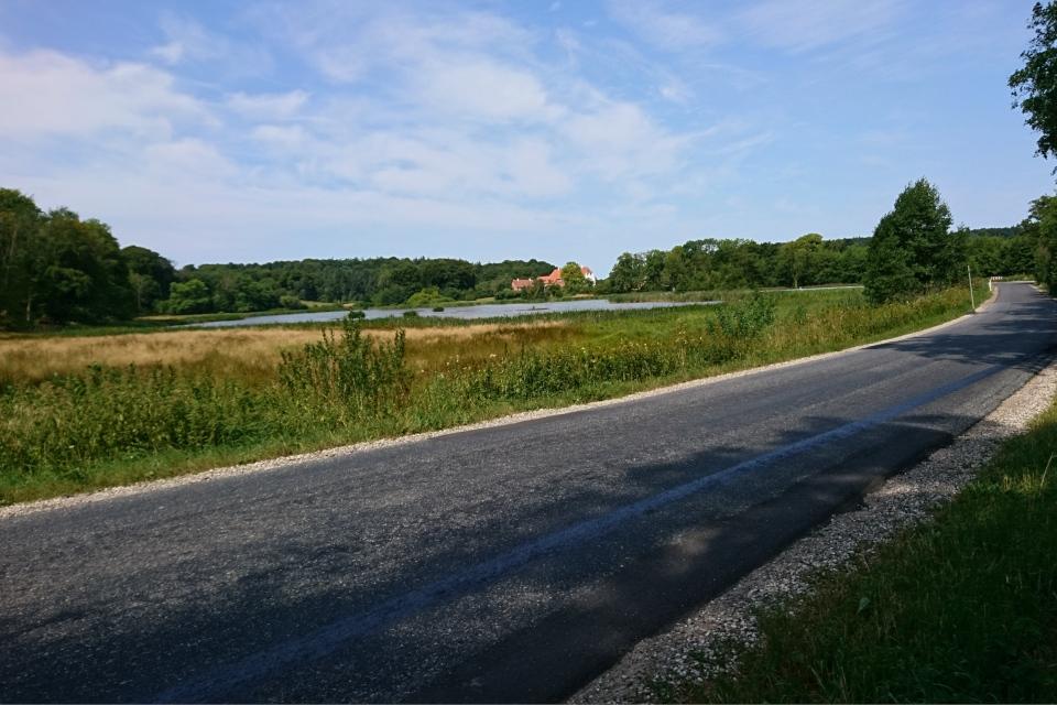 Асфальтовая дорога, проложенная возле старого поместья Фуссингё
