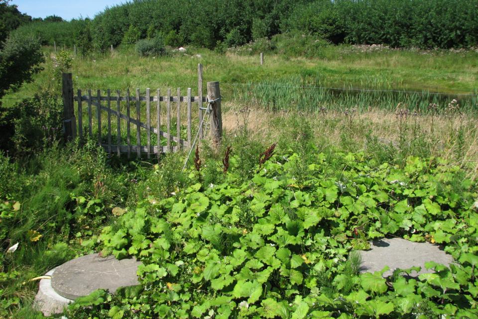 Ограда возле пруда для сбора сточных вод