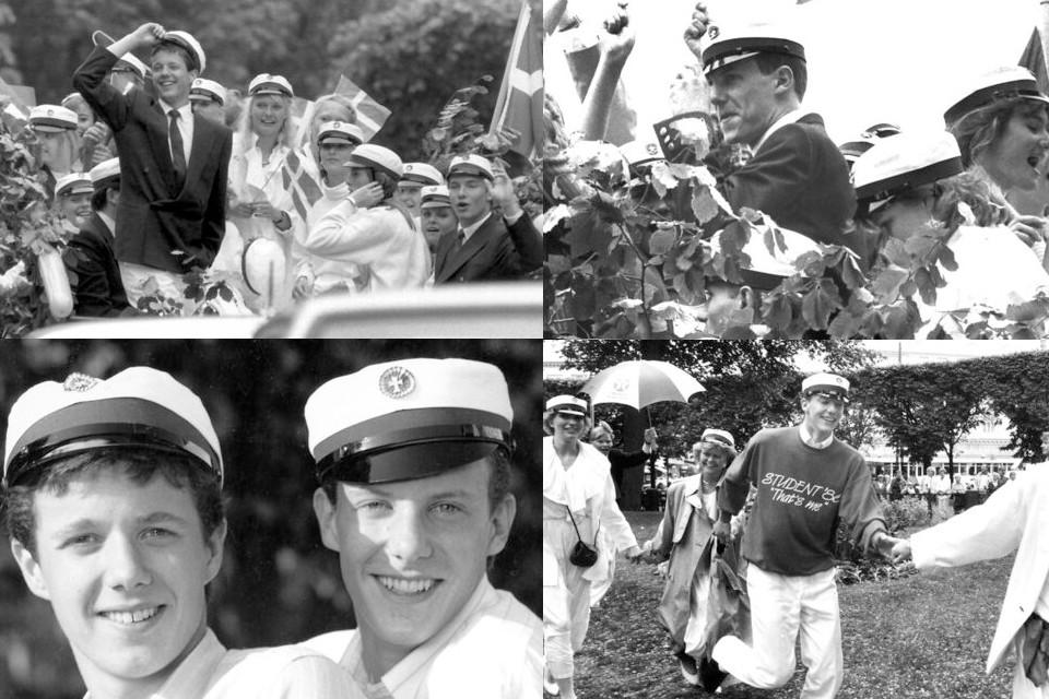 Датские принцы Фредерик и Иоахим со студенческими шапками