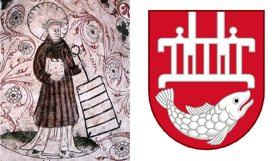Фреска со святым Лаврентием в церкви Överselö, Швеция и герб г. Скаген
