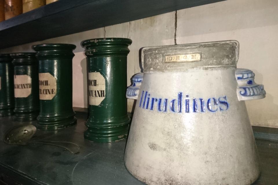 Глиняная посуда для хранения пиявок (лат. Hirudines)