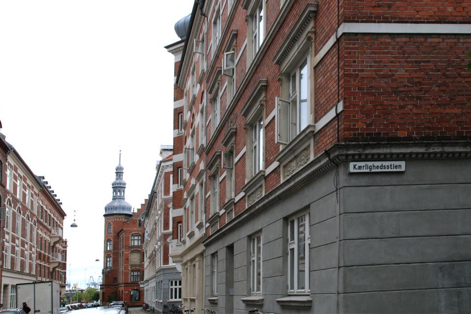 На углу между улицой Kærlighedsstien и улицей Molsgade