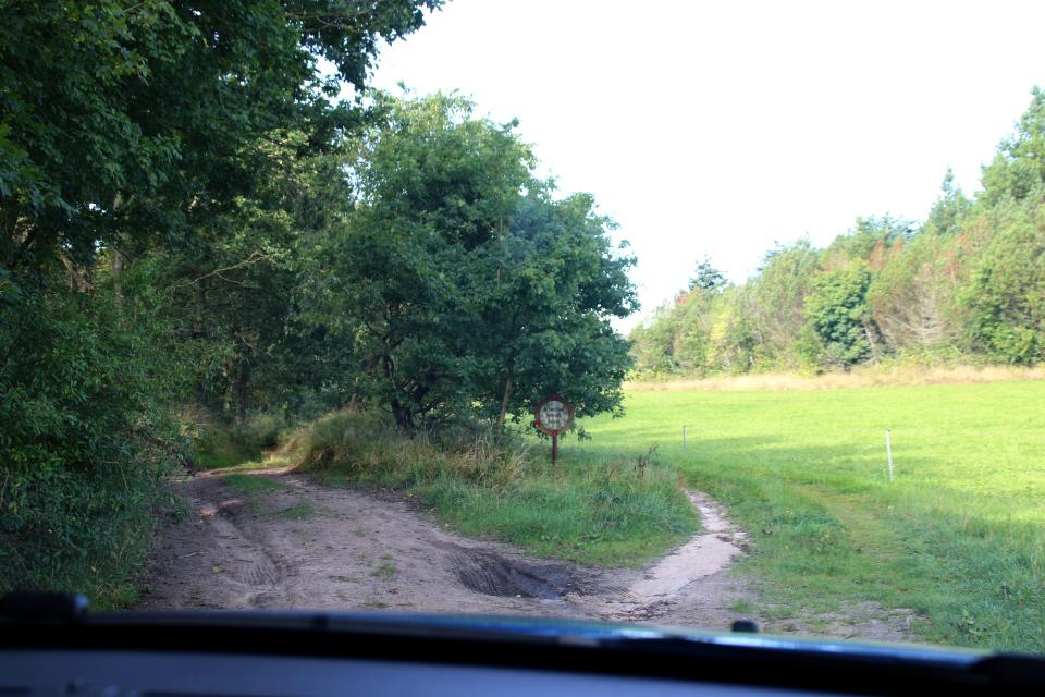 Грунтовая дорога к месту парковки (слева) и дорога для частного пользования