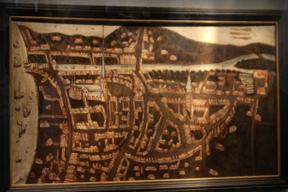 Самая первая известная иллюстрированная карта г. Орхуса, около 1640 г