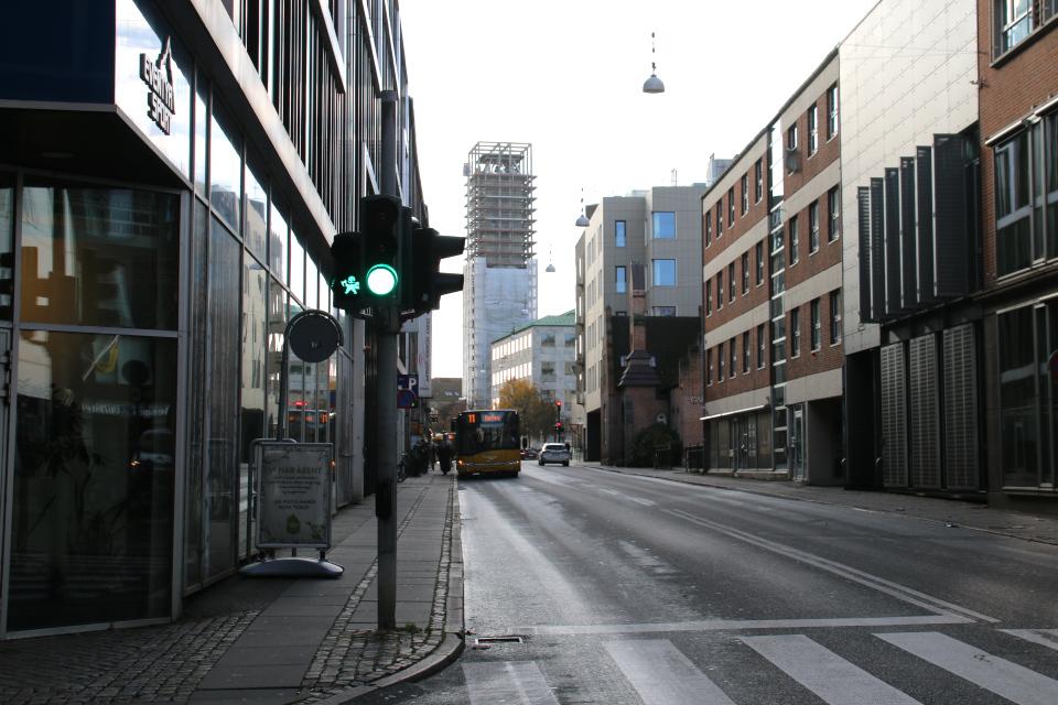 Викинги на светофорах в Орхусе на улице Hans Hartvig Seedorffs Stræde